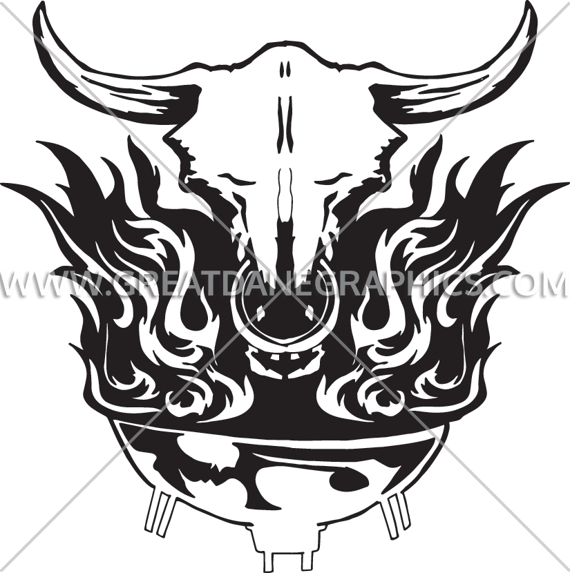 Flaming skull clipart svg black and white stock Flaming Skull BBQ | Production Ready Artwork for T-Shirt Printing svg black and white stock