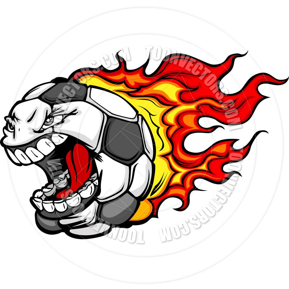 Flaming soccer ball clip art banner freeuse download Flaming Soccer Ball Screaming Face Vector Cartoon by Chromaco ... banner freeuse download