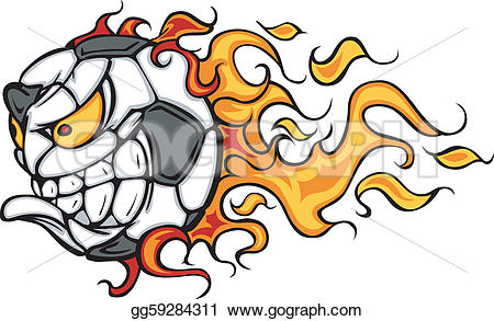 Flaming soccer ball clip art banner library library Vector Art - Soccer ball flaming face vector. EPS clipart ... banner library library