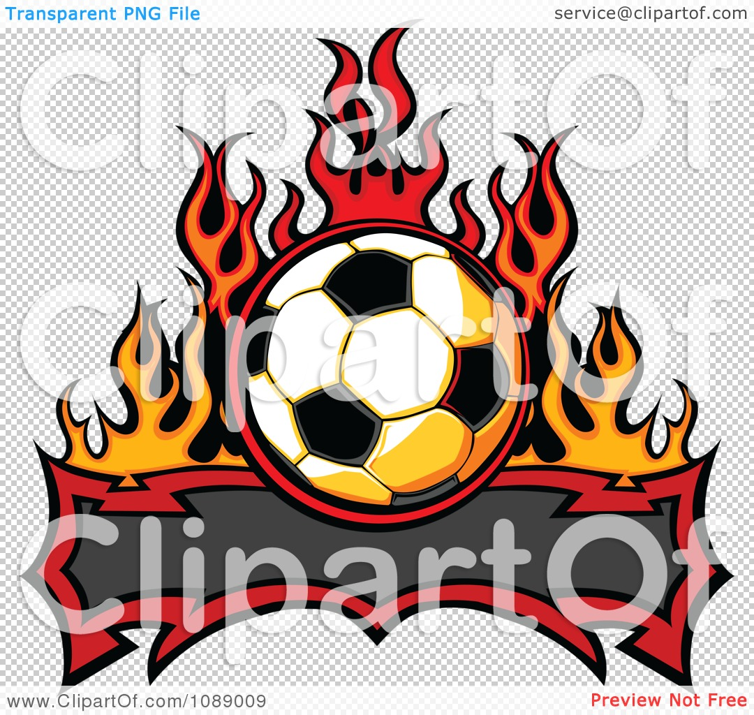 Flaming soccer ball clipart clip transparent download Clipart Tribal Banner With A Soccer Ball And Flames - Royalty Free ... clip transparent download
