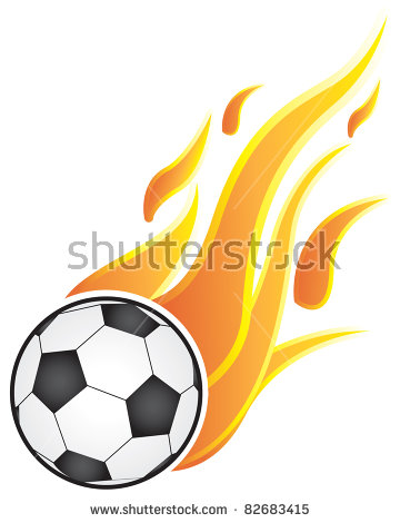 Flaming soccer ball clipart banner transparent Soccer Balls With Flames. On A White Background Stock Vector ... banner transparent