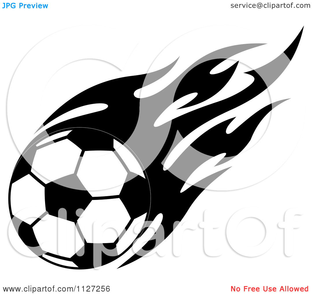 Flaming soccer ball clipart clip art freeuse download Clipart Of A Black And White Soccer Ball With Tribal Flames 2 ... clip art freeuse download