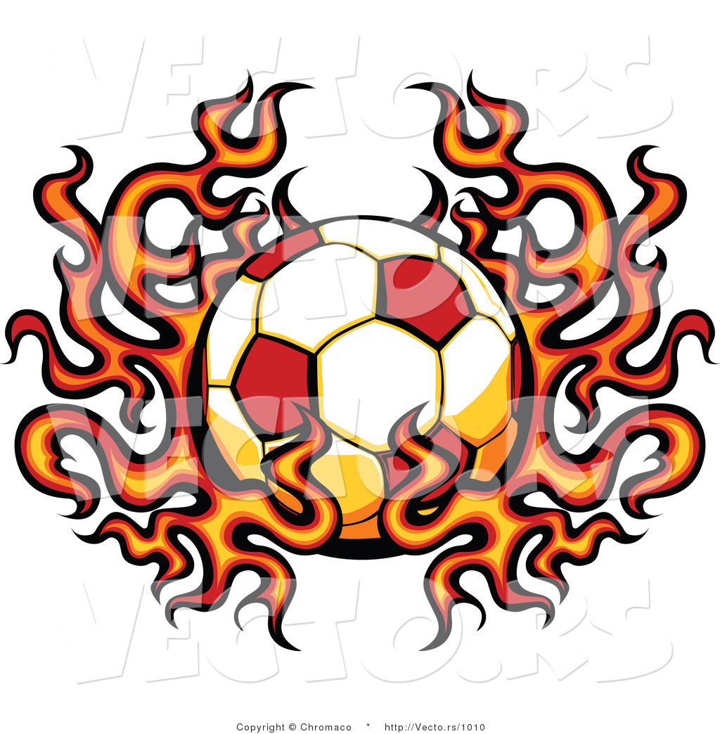 Flaming soccer ball clipart picture transparent Vector of a Flaming Soccer Ball by Chromaco - #1010 picture transparent