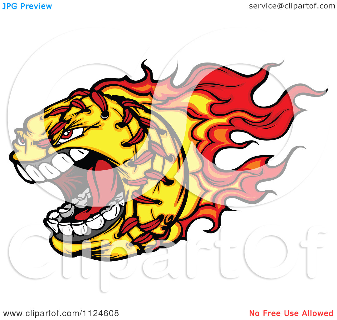Flaming softball clipart clipart black and white library Cartoon Of A Flaming Aggressive Screaming Softball Mascot ... clipart black and white library