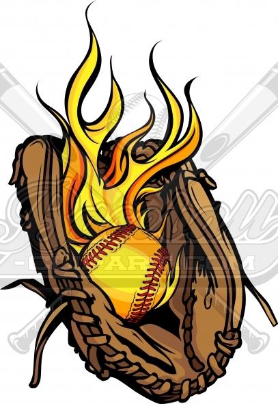 Flaming softball clipart vector freeuse library Flaming Softball Glove Vector Clipart Image vector freeuse library