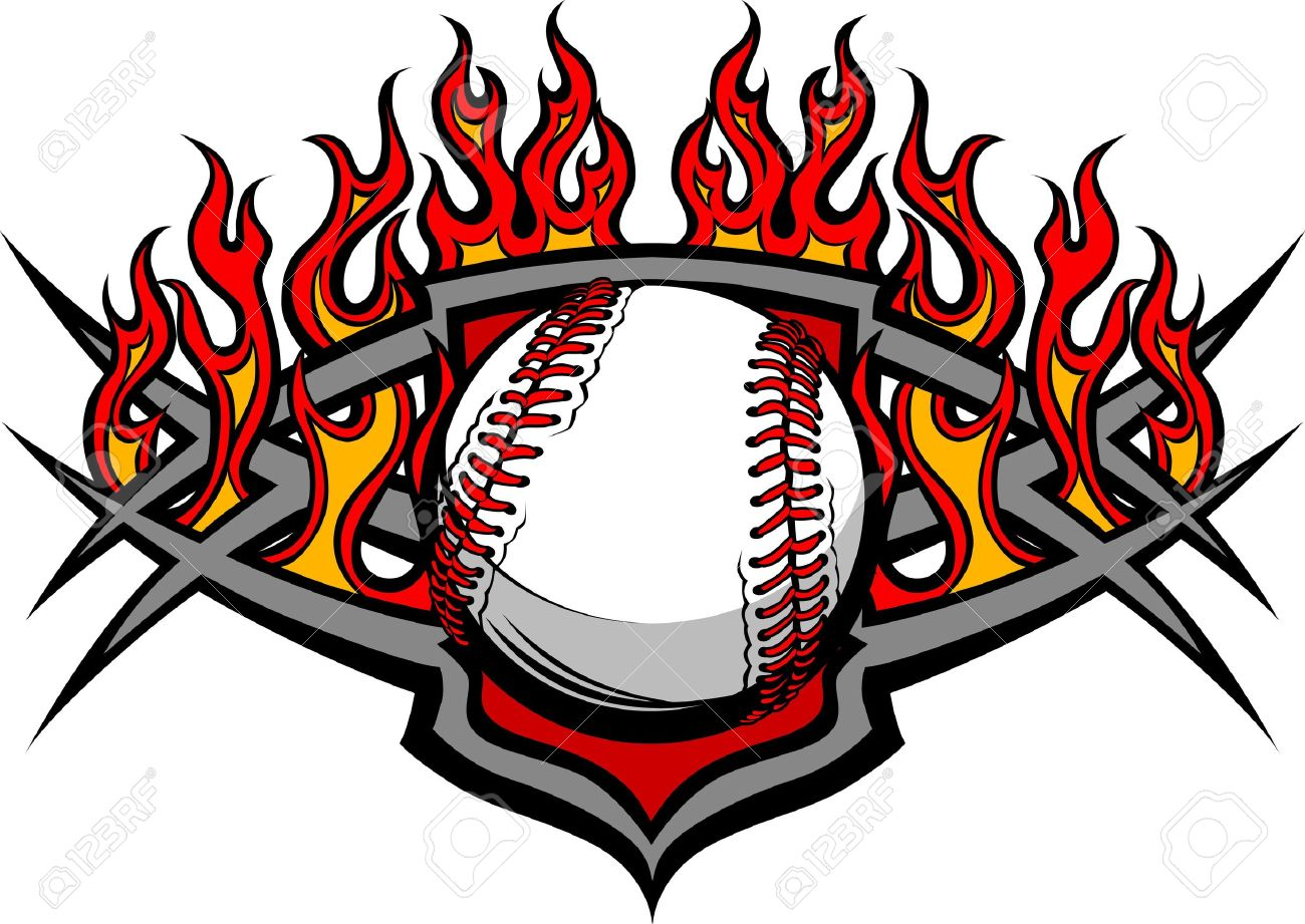 Flaming softball clipart picture transparent download Graphic Baseball Or Softball Vector Image Template With Flames ... picture transparent download