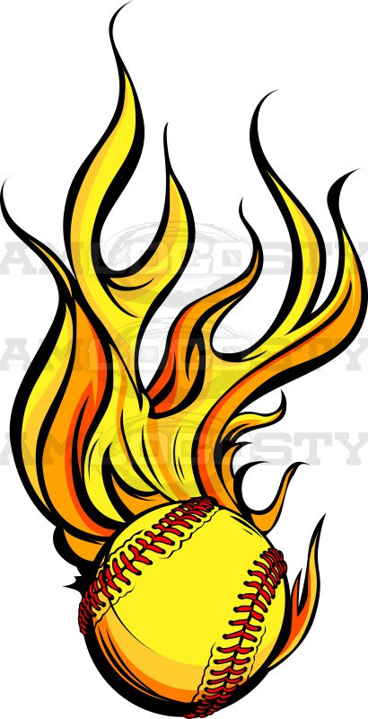 Flaming softball clipart freeuse library Flaming Softball Art Vector Clipart Image - Team Logo Style freeuse library