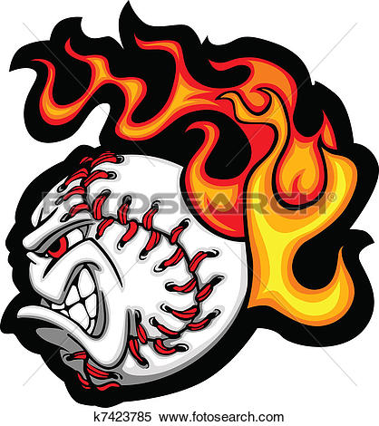 Flaming softball clipart banner library Clipart of Softball or Baseball Face Flaming V k7423785 - Search ... banner library