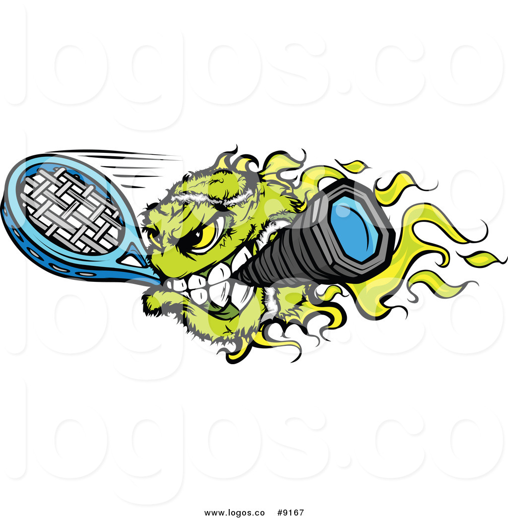 Flaming tennis ball clipart clip black and white download Royalty Free Clip Art Vector Flaming Tennis Ball Biting a Racket ... clip black and white download