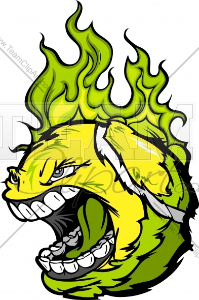 Flaming tennis ball clipart clipart transparent Tennis Ball Screaming Face with Flaming Hair Vector Clipart Image ... clipart transparent