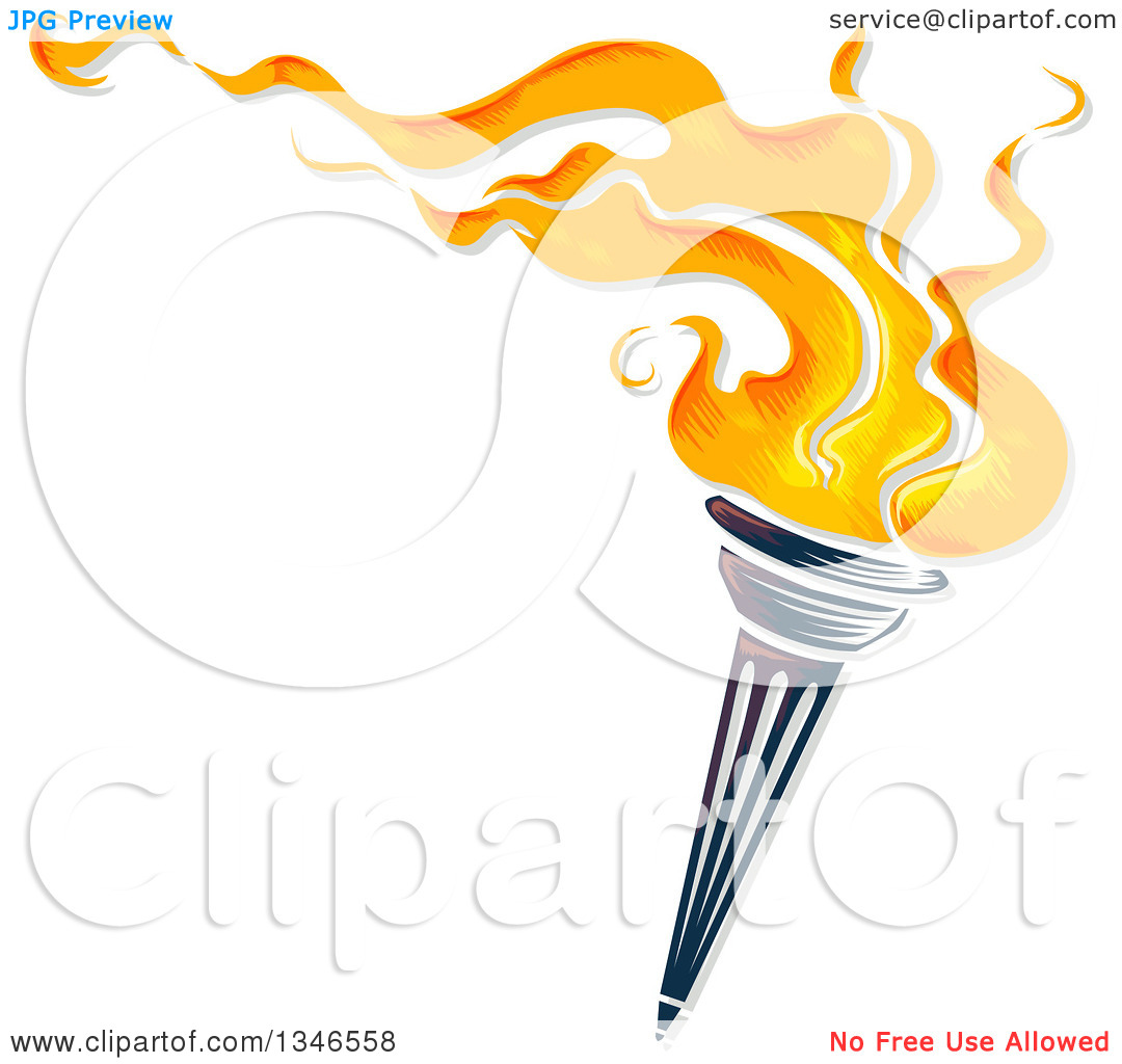 Flaming torch clipart clip art black and white stock Clipart of a Flaming Torch with Text Space - Royalty Free Vector ... clip art black and white stock