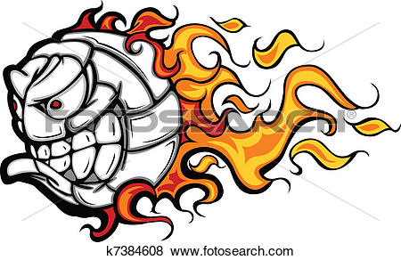 Flaming volleyball clipart jpg library stock Clip Art of Volleyball Ball Flaming Face Vector k7384608 - Search ... jpg library stock