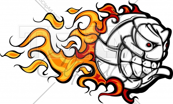 Flaming volleyball clipart clipart free Volleyball Ball Face with Flames Vector Clipart Image - Team ... clipart free