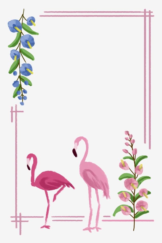 Flamingo border clipart. Spring and summer flowers