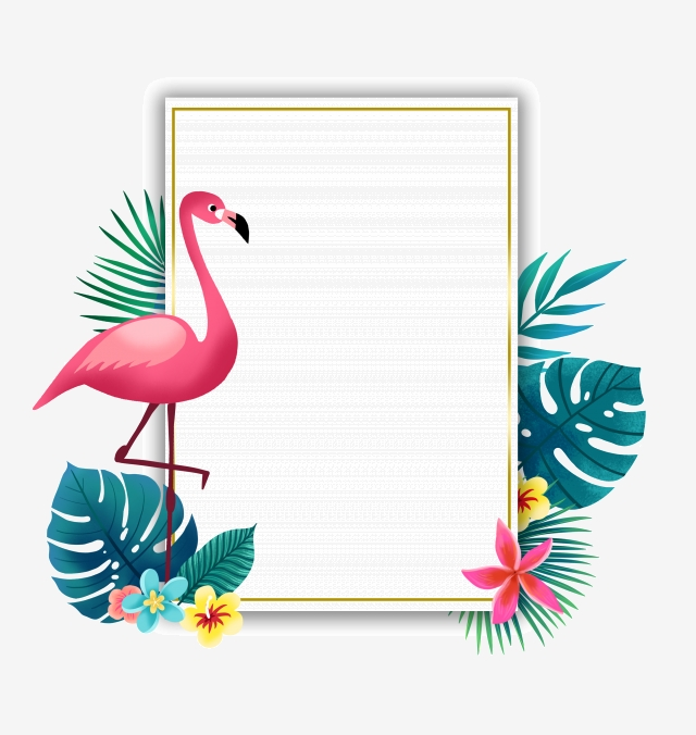 Flamingo border clipart. Summer and plant spring