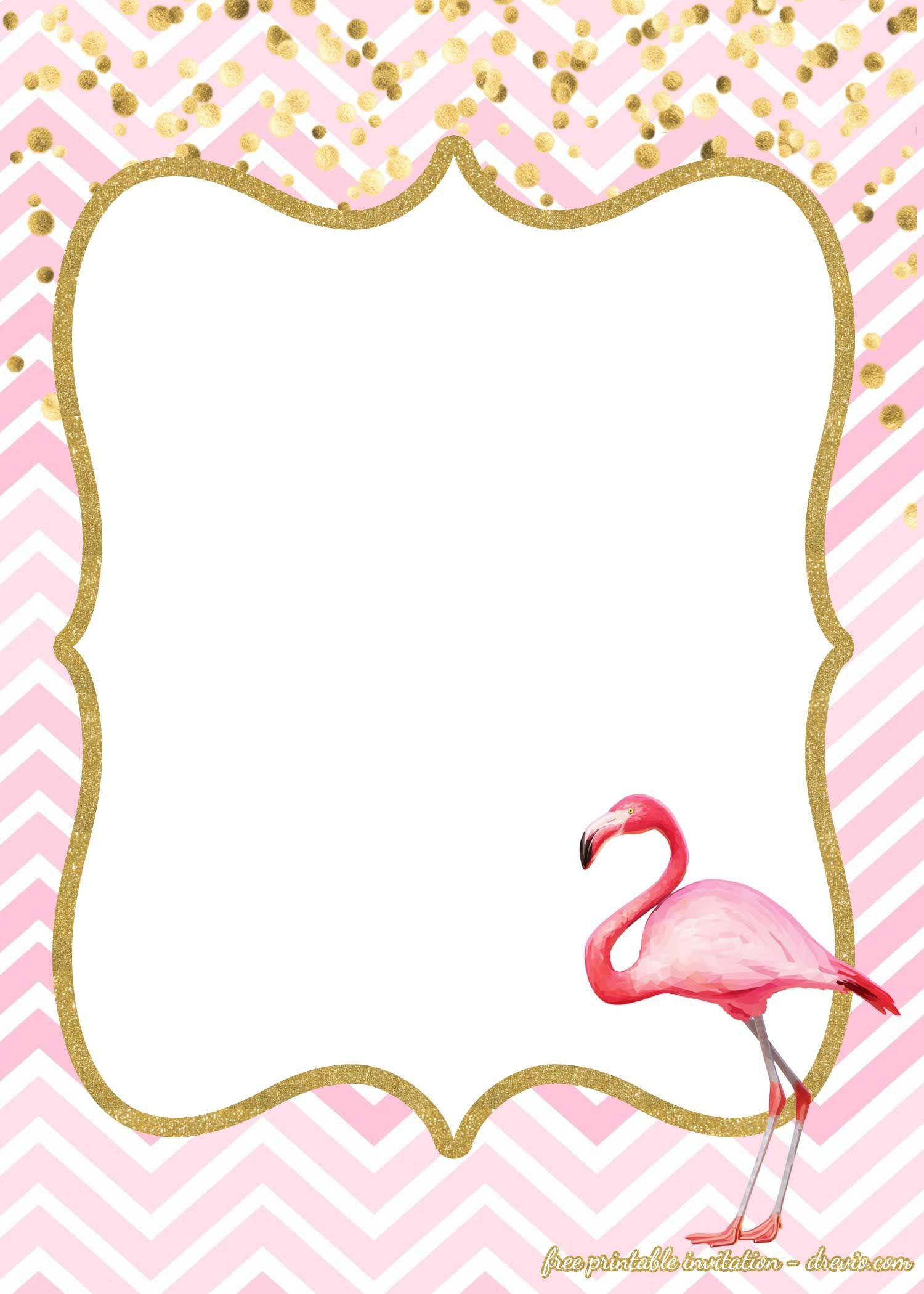 Flamingo border clipart. Free invitations templates first