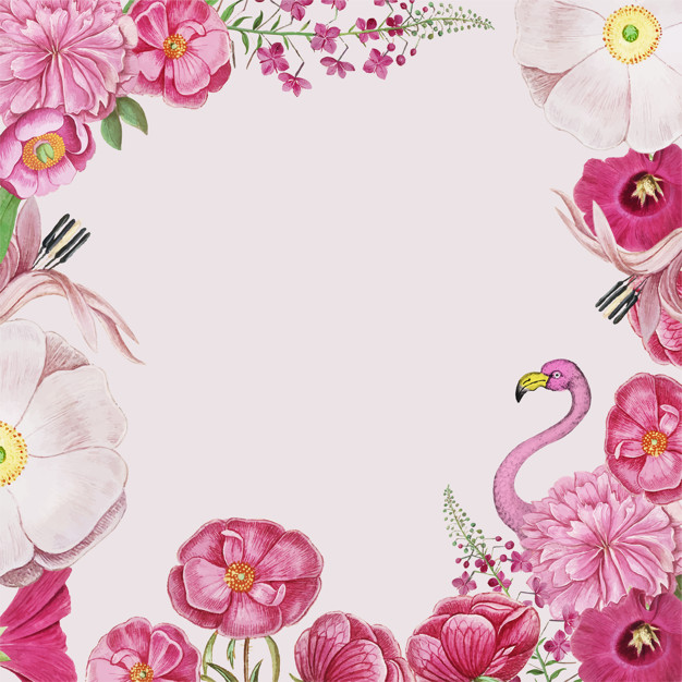 Vintage flowers and pink. Flamingo border clipart