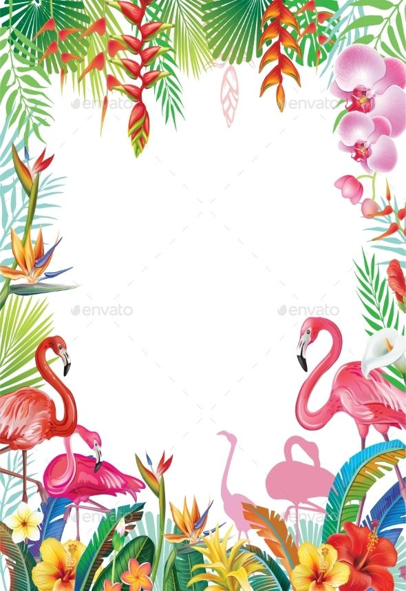 Frame from tropical flowers. Flamingo border clipart