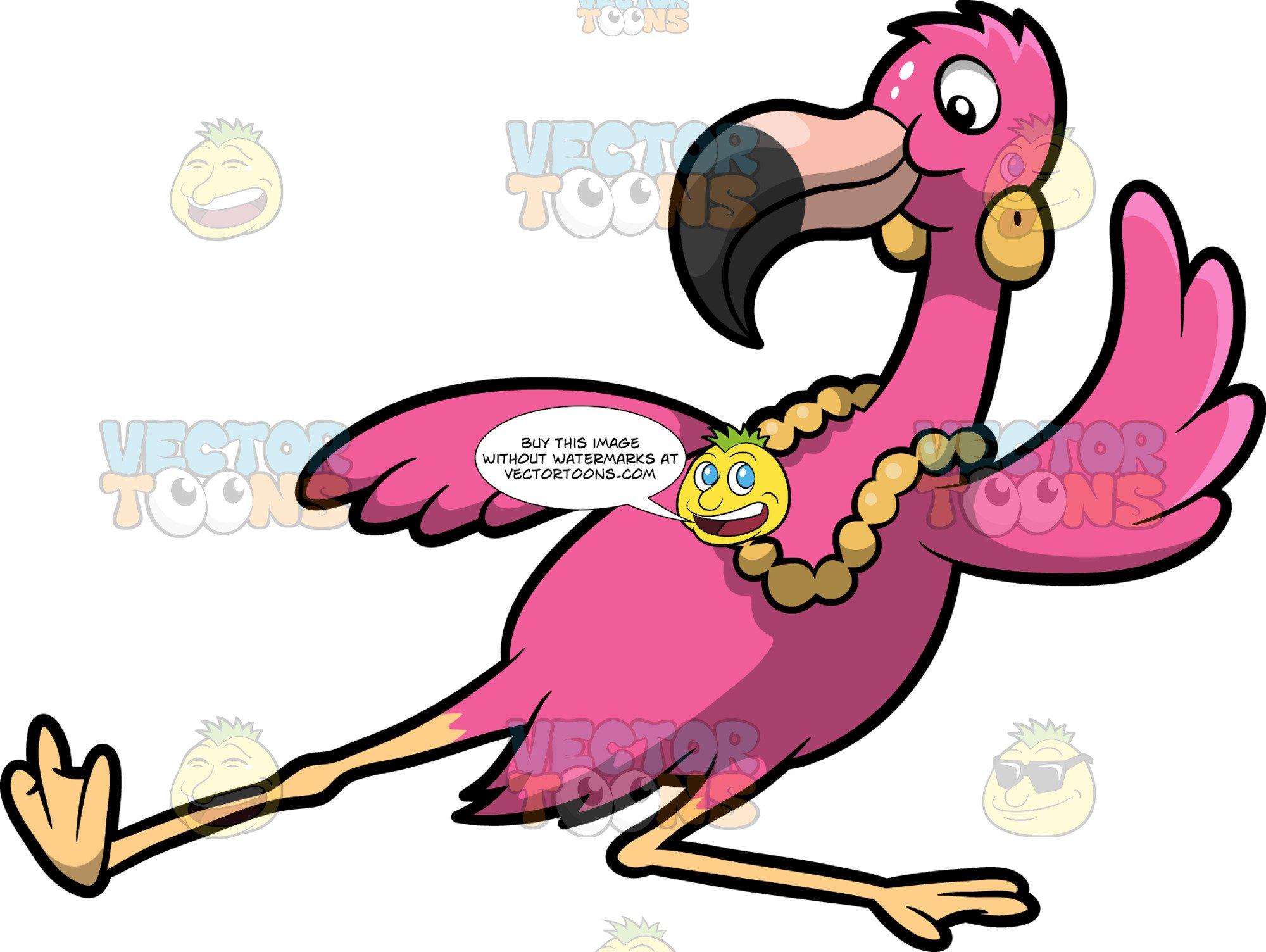 A dancing . Flamingo cartoon clipart