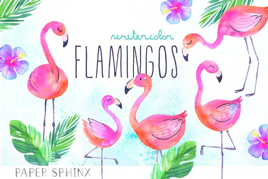 Clipart flamingo black and white library Watercolor Tropical Flamingo Clipart black and white library