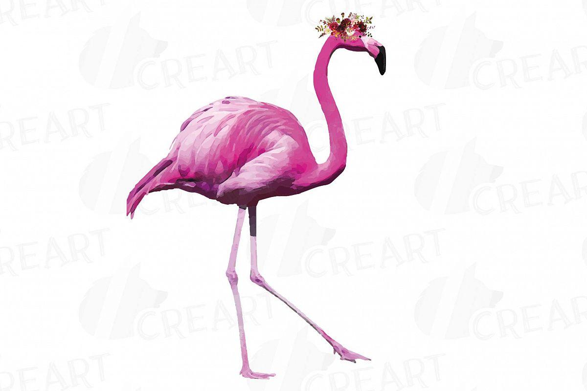 Flamingo watercolor clipart clipart royalty free stock Watercolor Floral Pink Flamingo clip art, boho clipart clipart royalty free stock