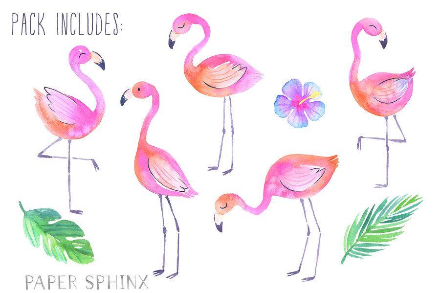 Flamingo watercolor clipart graphic royalty free Watercolor Flamingos Clipart | Tropical Flamingos Summer Clipart ... graphic royalty free