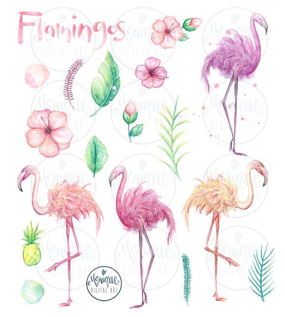 Flamingo watercolor clipart clip free stock Flamingo clipart, watercolor clip free stock