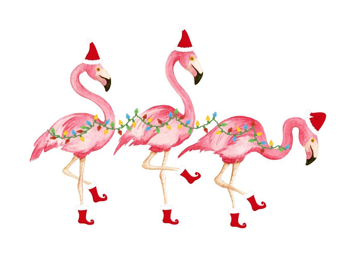 Christmas shorely chic friday. Flamingo with santa hat clipart