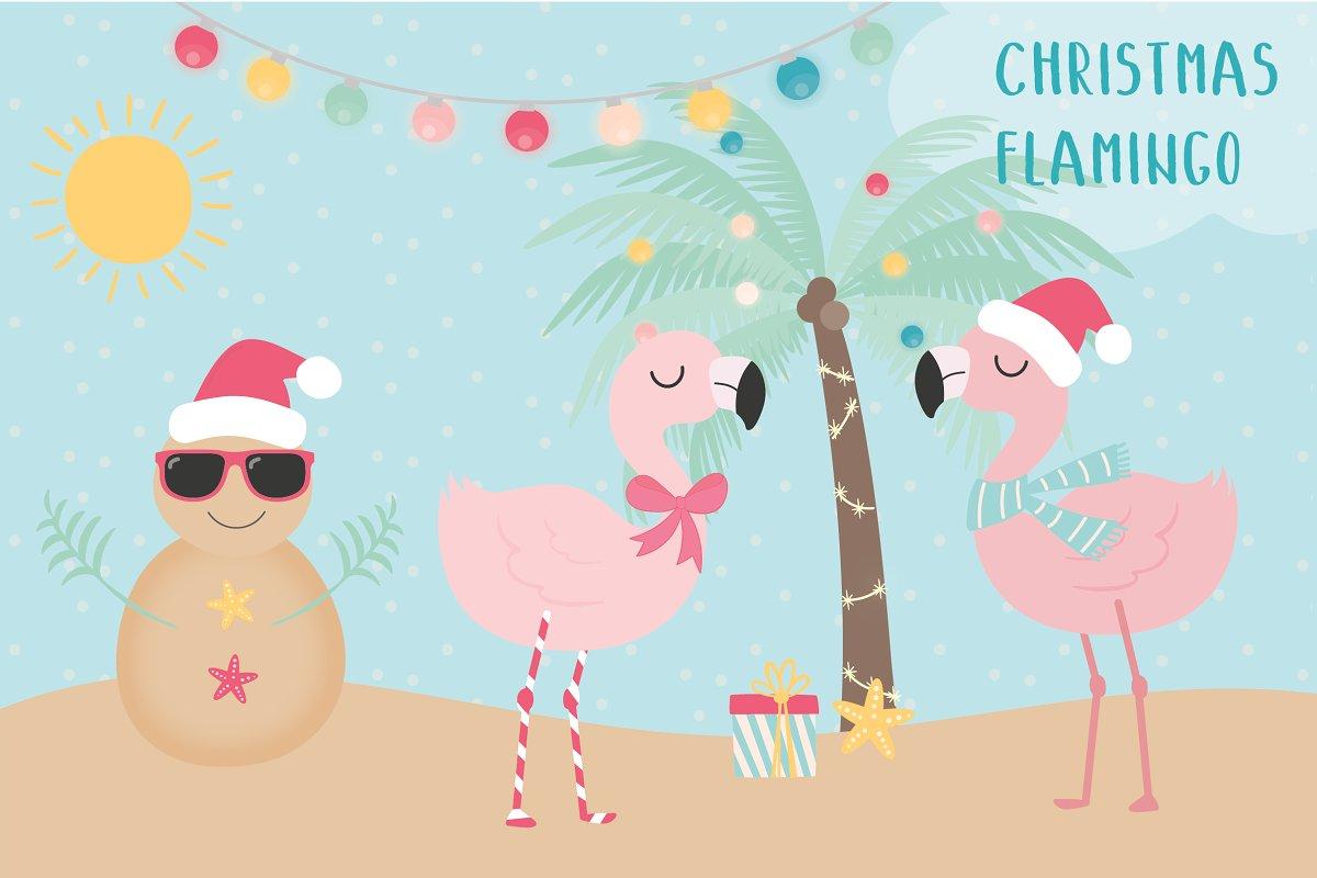 Christmas illustrations creative market. Flamingo with santa hat clipart