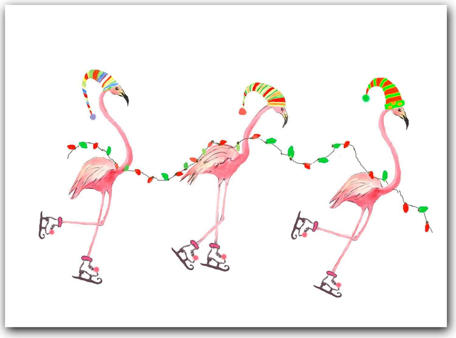 Christmas cards tropical per. Flamingo with santa hat clipart