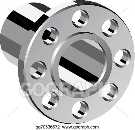 Vector art chrome pipe. Flange clipart