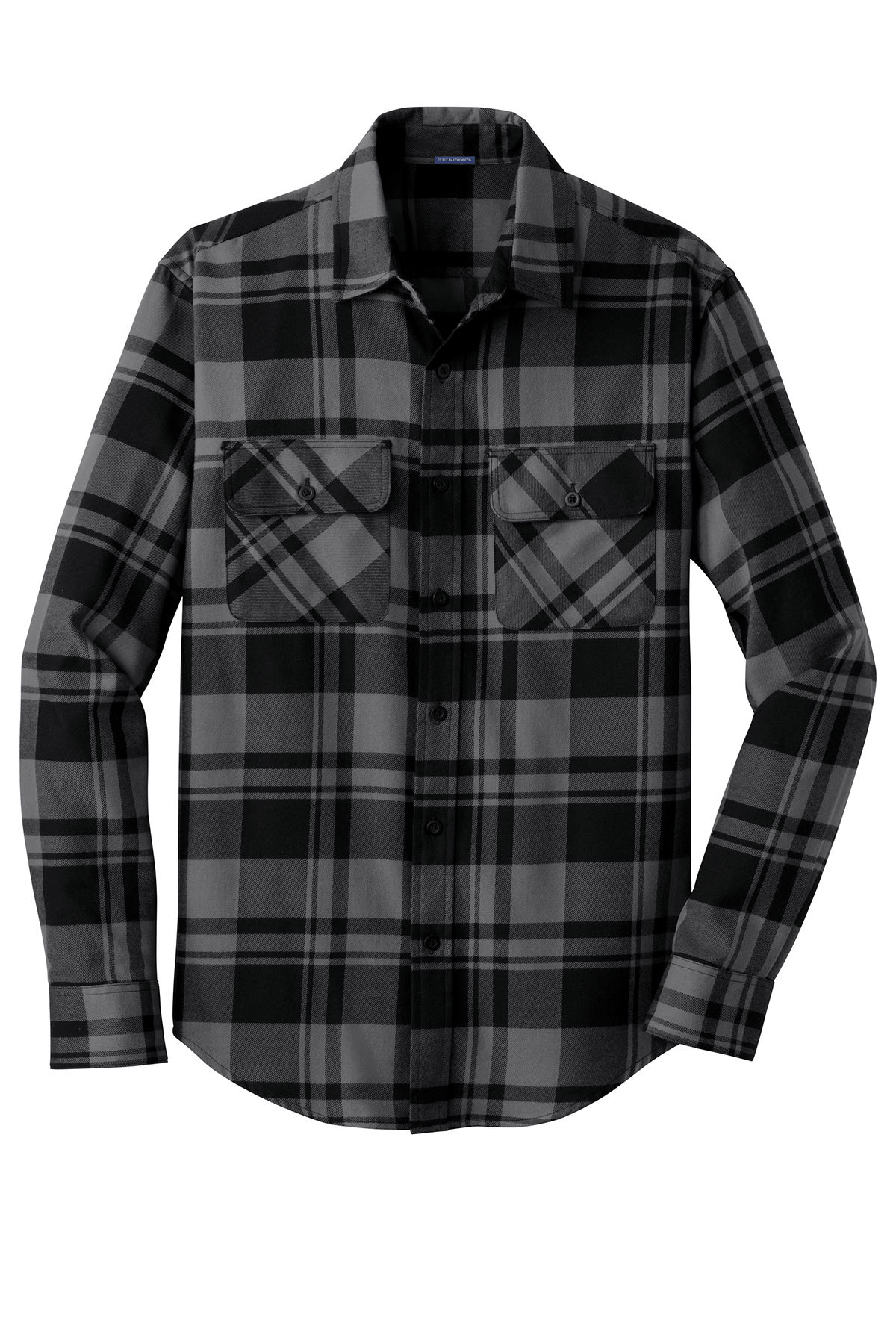 Flannel shirt outline black and white clipart jpg black and white stock Port Authority® Plaid Flannel Shirt | Cotton/Poly Blend | Woven ... jpg black and white stock