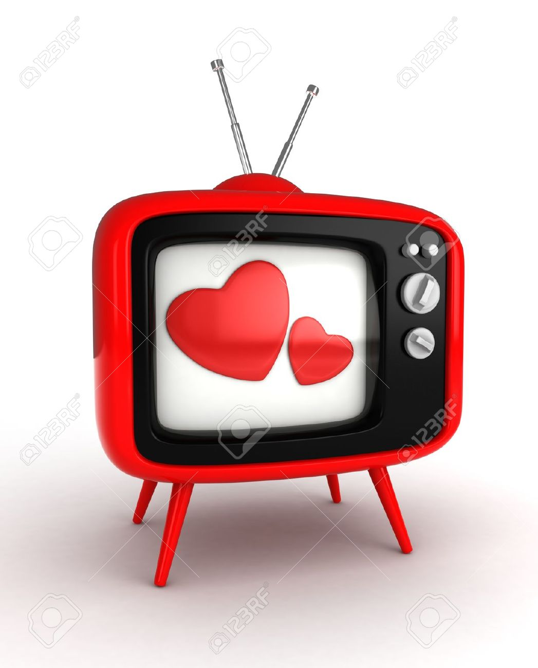 Flashing heart clipart image transparent stock 3D Illustration Of A Retro Television Set With Hearts Flashing ... image transparent stock