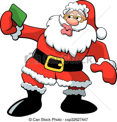 Flashing santa clipart image black and white download EPS Vector of Santa Selfie - A vector illustration of Santa Claus ... image black and white download