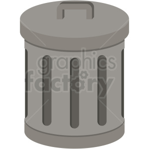 Flat can clipart. Trash vector icon with