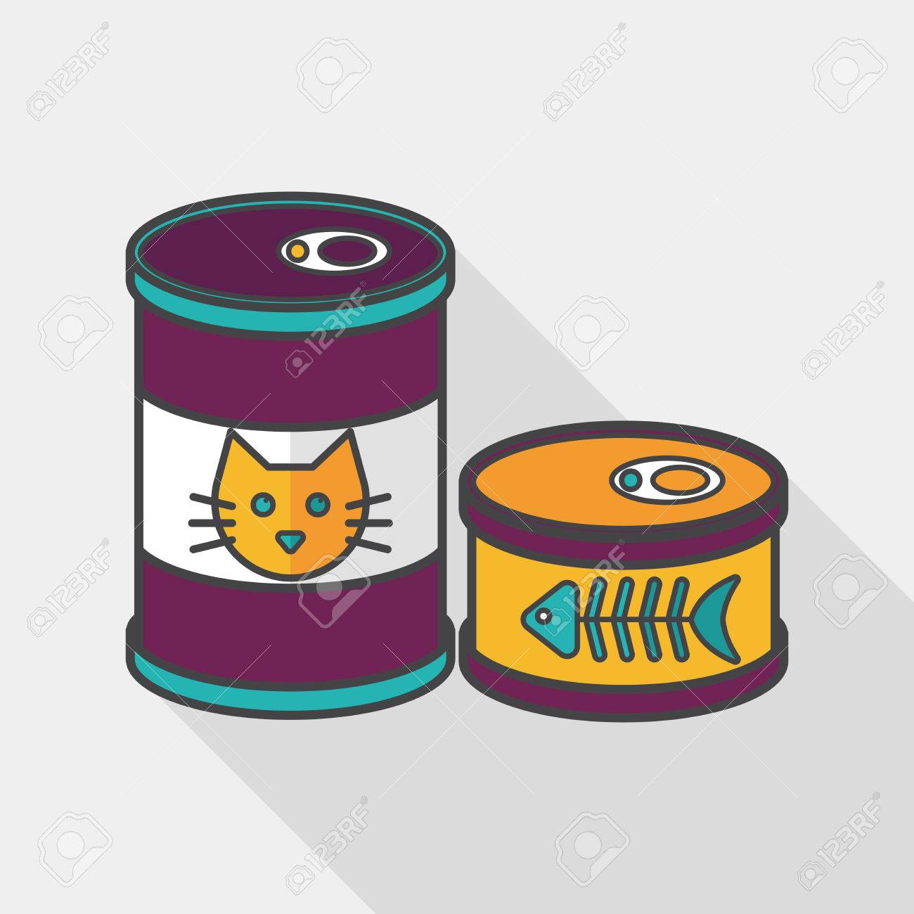 Pet cat food icon. Flat can clipart