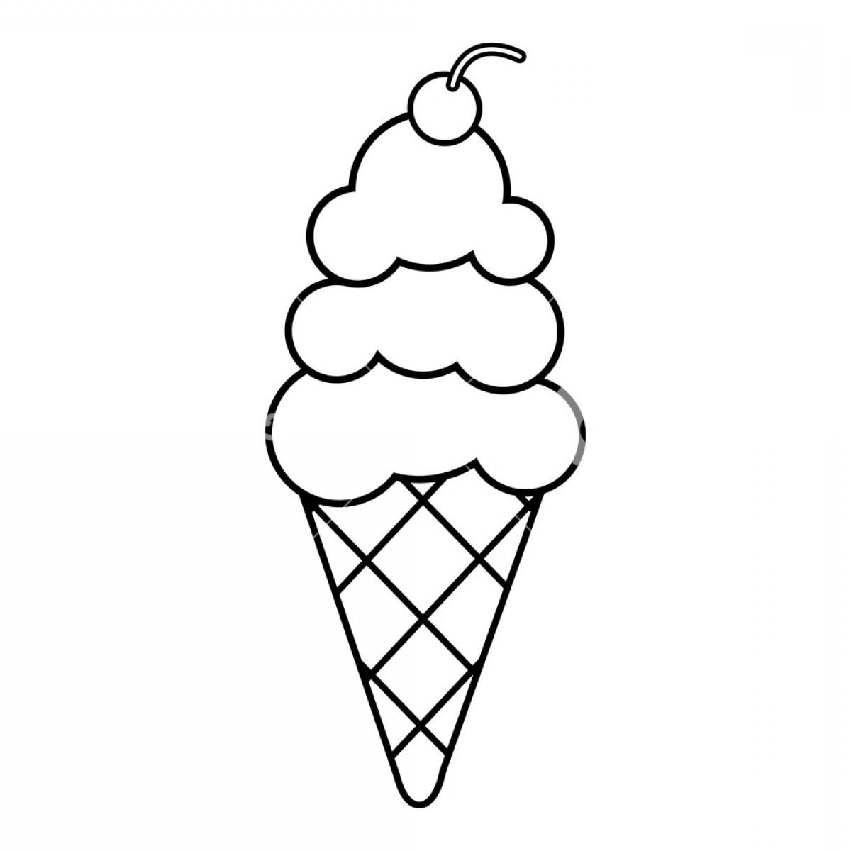Flat ice cream cone black and white clipart banner library library Vanilla Ice Cream Icon Outline Illustration Of Vanilla Ice Cream ... banner library library