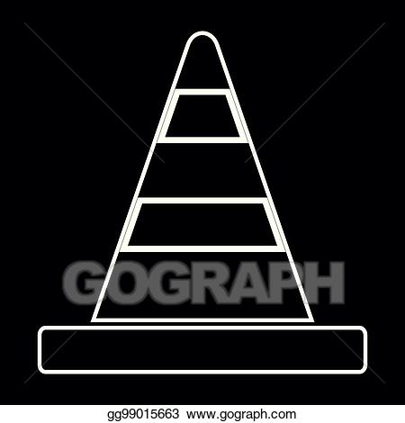 Clip art vector road. Flat trianle cone black and white clipart