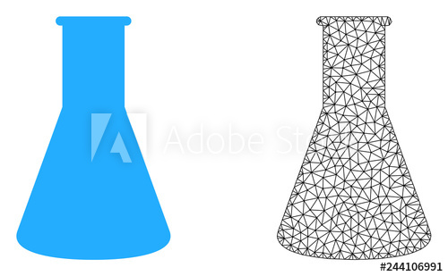 Flat trianle cone black and white clipart. Polygonal mesh chemical retort