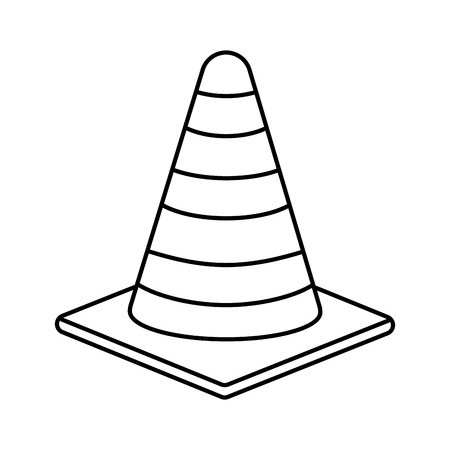 Under construction concept represented. Flat trianle cone black and white clipart