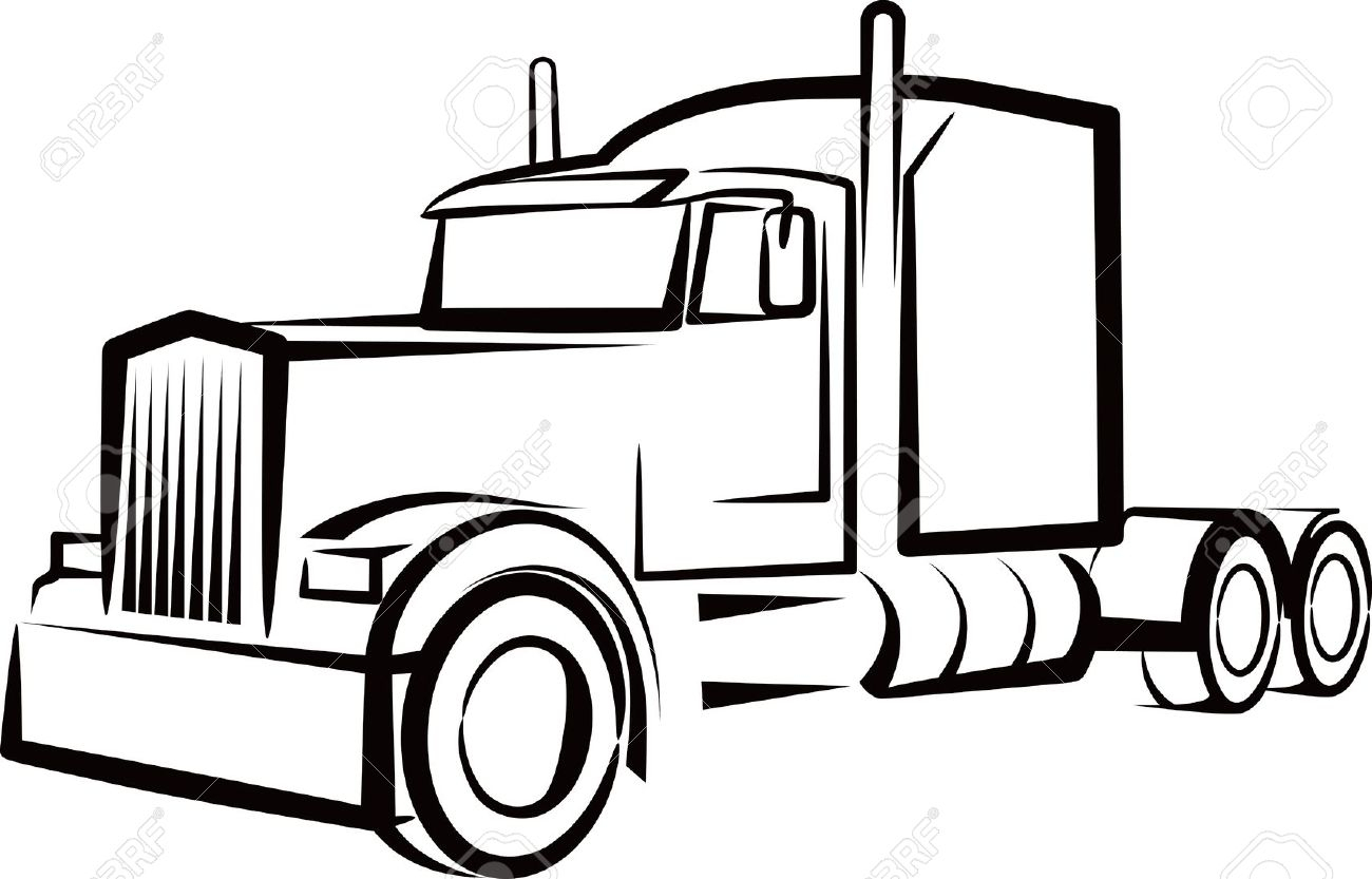 Flatbed 18 wheeler clipart black and white png royalty free download Semi Clipart | Free download best Semi Clipart on ClipArtMag.com png royalty free download