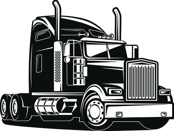Flatbed 18 wheeler clipart black and white clipart transparent library Truck Driver #1 Trucker Big Rigg 18 Wheeler Semi Tractor Trailer Cab ... clipart transparent library
