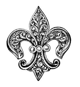 Fleur-de-lis pattern clipart image black and white stock vintage brooch clipart, fleur de lis clip art, antique brooch with ... image black and white stock