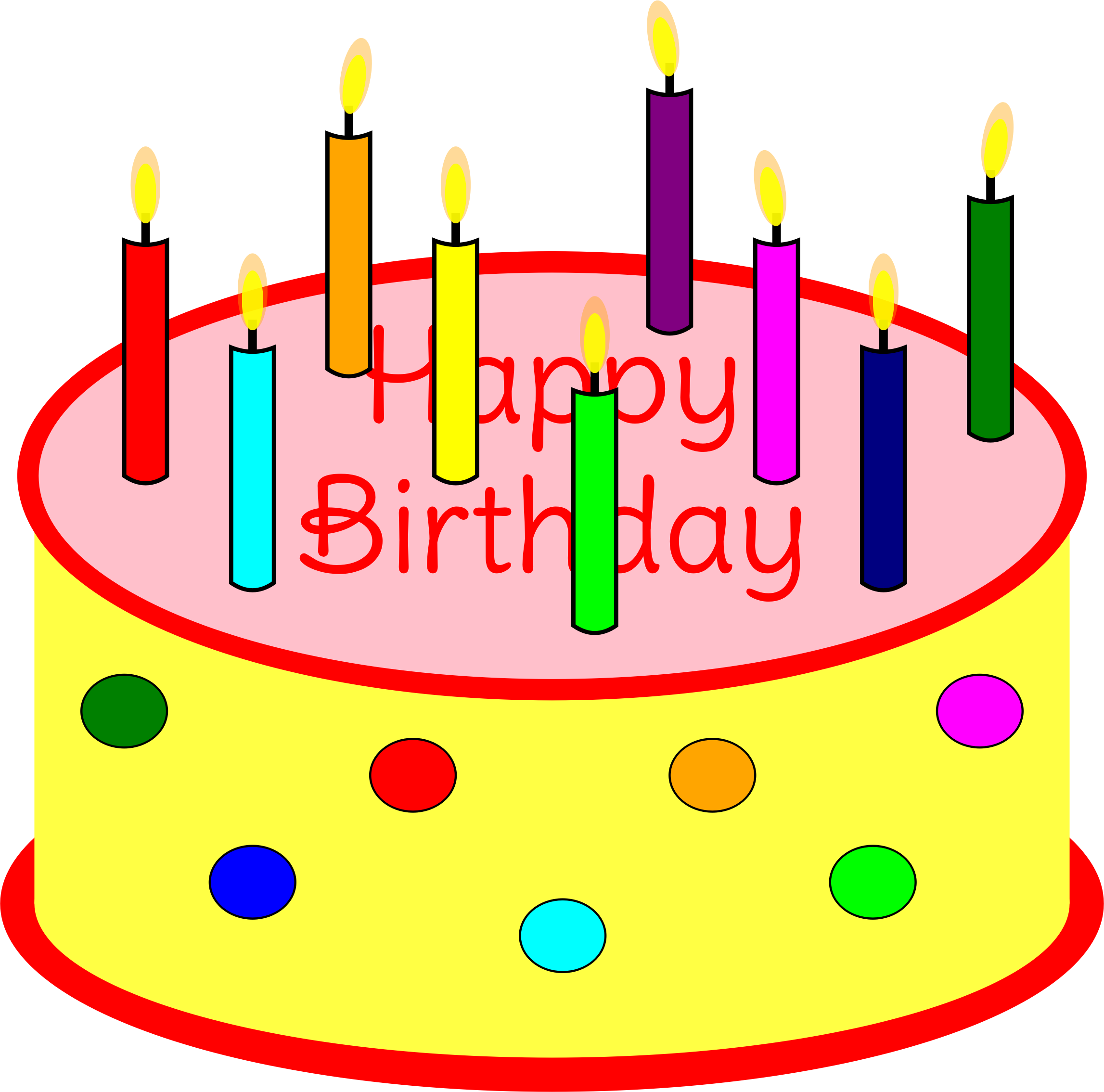 Clipart of birthday cake. Flickering candle
