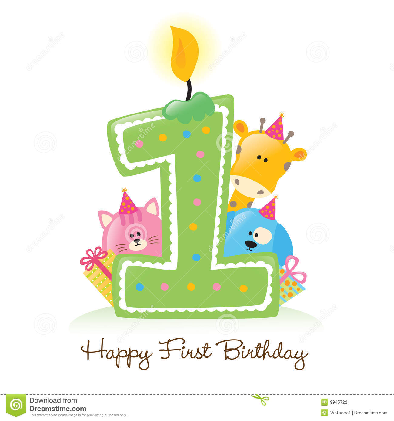 Flickering birthday candle clipart jpg black and white stock Happy First Birthday Candle Stock Photography - Image: 9945722 jpg black and white stock