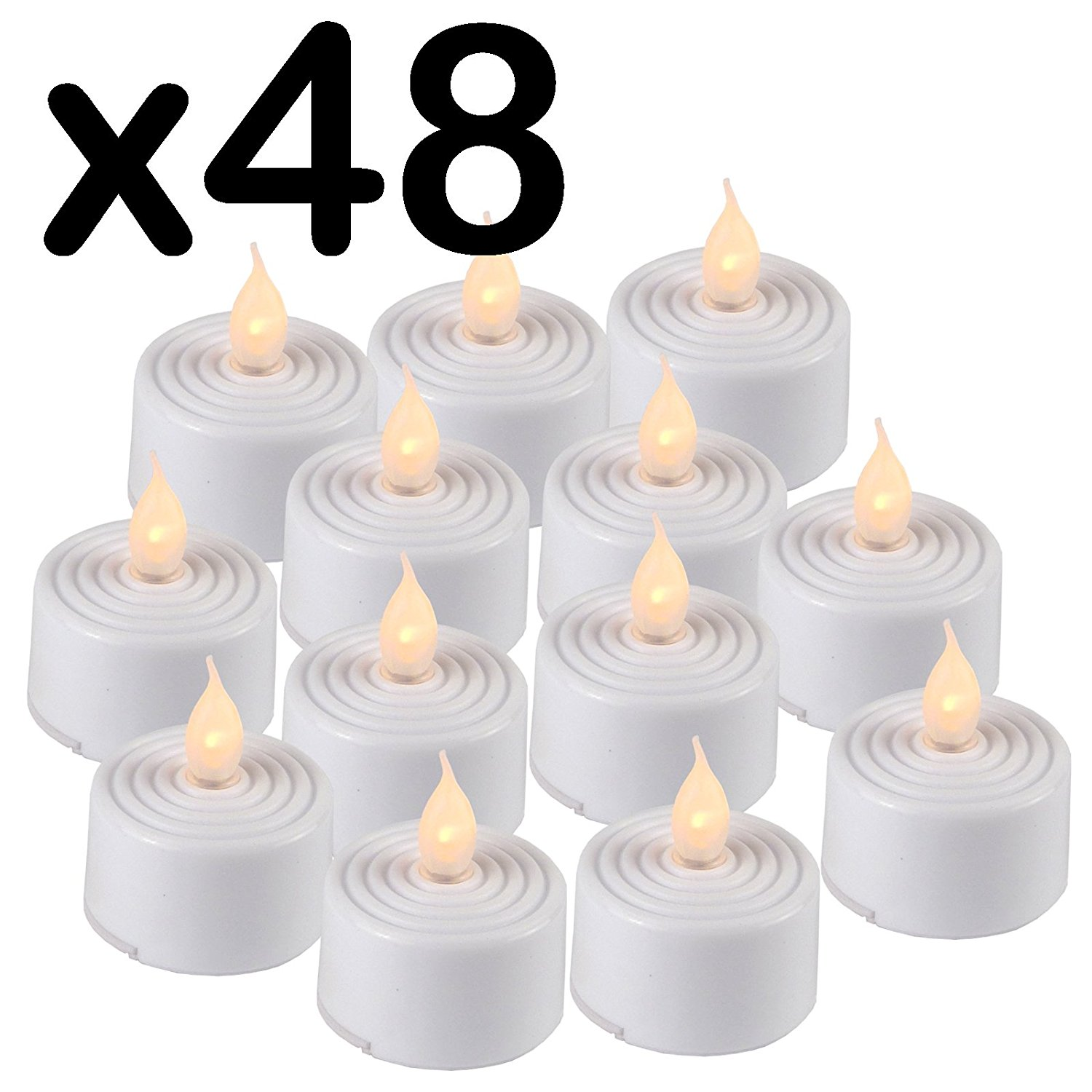 Flickering birthday candle clipart picture transparent stock 48 x LED FLICKERING TEA LIGHT CANDLES - INCLUDED BATTERY OPERATED ... picture transparent stock