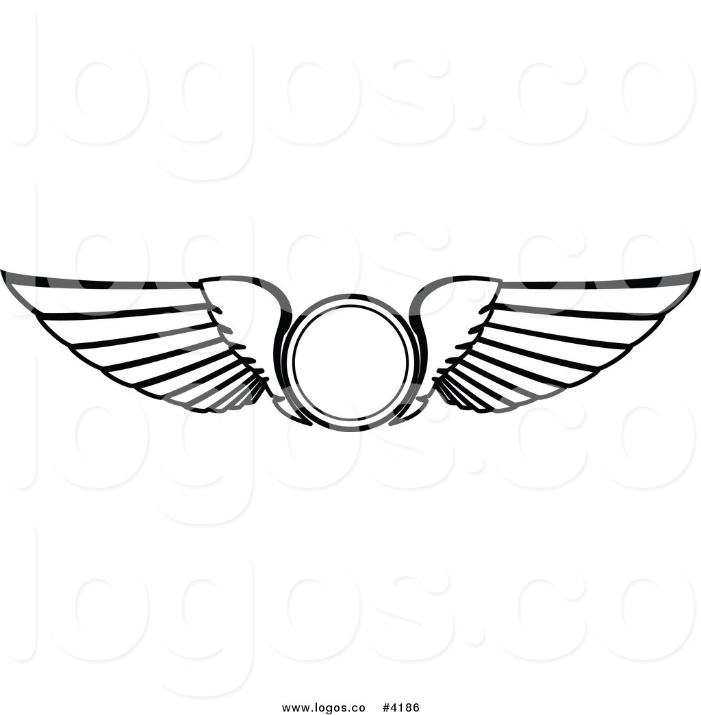 Royalty free icon logo. Flight wings clipart