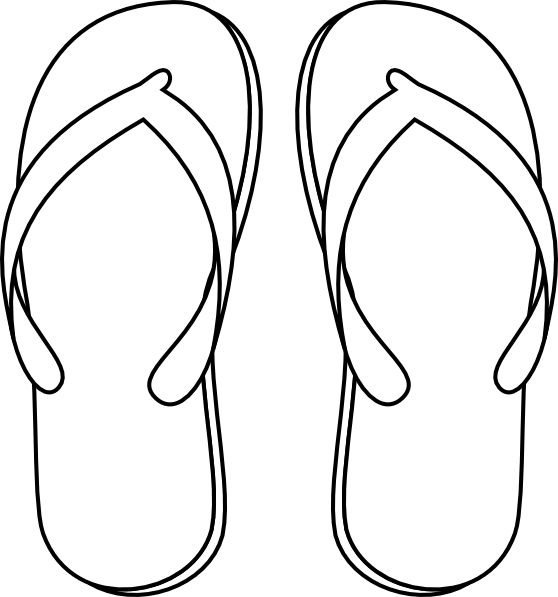 Flip flops on beach black and white clipart. Flop image free download