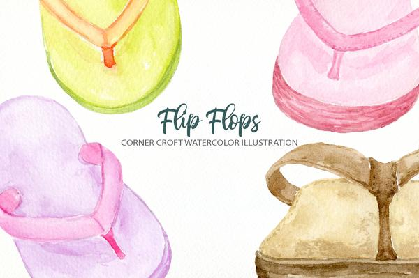 Flip flops watercolor clipart png library library Watercolor summer flip flops collection in pastel colors for instant  download png library library