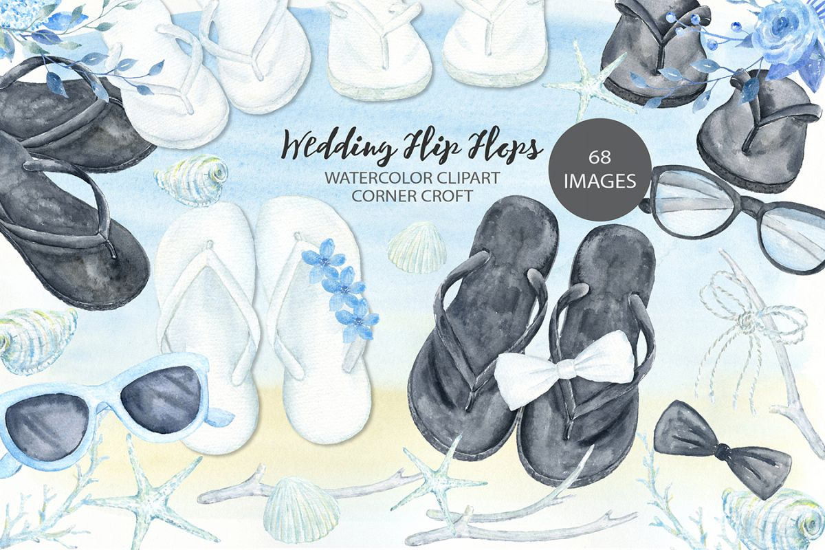 Flip flops watercolor clipart picture freeuse stock Watercolor wedding sandals clipart, white flip flops, black flip flops  illustration picture freeuse stock